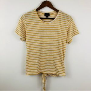 Lumière Yellow Striped Tie-Back Short Sleeve Shirt